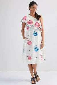 Plenty by Tracy Reese Embroidered One-Shoulder Midi Dress – frill trimmed asymmetric neckline dresses