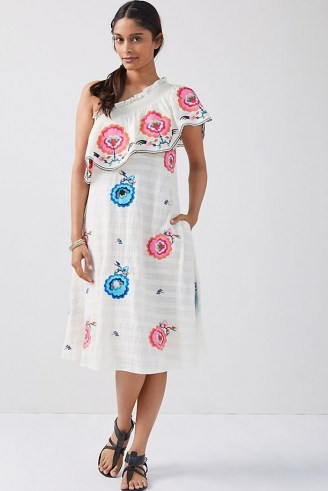 Plenty by Tracy Reese Embroidered One-Shoulder Midi Dress – frill trimmed asymmetric neckline dresses - flipped