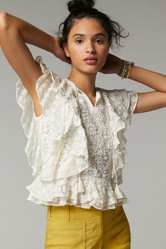 Verb by Pallavi Singhee Allyson Ruffled Lace Blouse – romantic flutter sleeve blouses - flipped