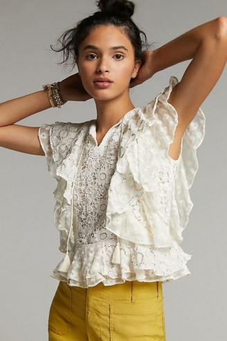 Verb by Pallavi Singhee Allyson Ruffled Lace Blouse – romantic flutter sleeve blouses