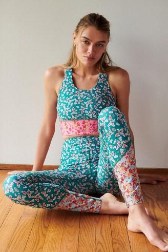 Kachel Floral Contrast Leggings / yoga clothing / sports pants - flipped