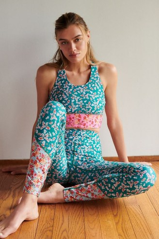 Kachel Floral Contrast Leggings / yoga clothing / sports pants