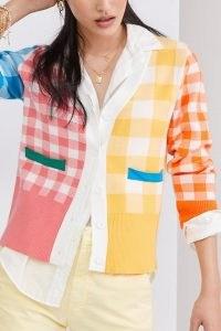 Anthropologie Colour-Block Gingham Cardigan / bright colourblock cardigans