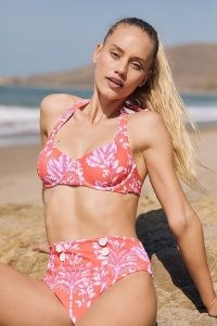 Maeve Palms Bikini Top Orange Motif / halterneck tropical print bikinis / swimwear halter tops