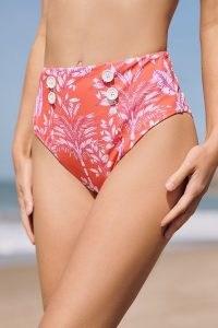 Maeve Palms Buttoned High-Waisted Bikini Bottoms / bright orange retro swimwear / vintage style bikinis