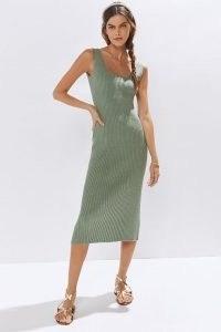 Amadi Knitted Midi Dress Moss – green rib knit open back tank dresses