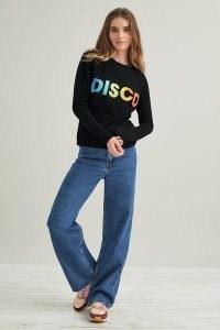 Orwell + Austen Disco Jumper | black slogan crew neck jumpers