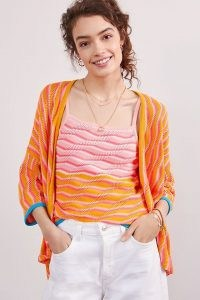 Maeve Sunrise Cami and Cardigan Set | bright knitted fashion sets | camisoles and cardigans