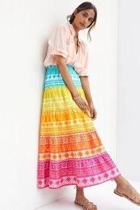 Geisha Designs Rainbow Tiered Maxi Skirt | bright multicoloured summer skirts
