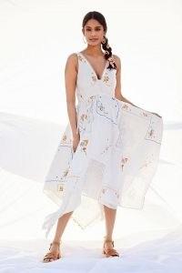 Anthropologie Rita Embroidered Maxi Dress | white cotton handkerchief hem summer dresses