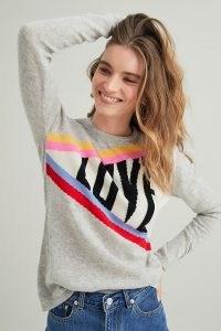 Orwell + Austen Love Jumper Light Grey | wool and cashmere blend slogan jumpers