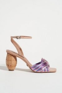 ANTHROPOLOGIE Tanya Heeled Sandals Pink Combo ~ woven rattan-wrapped heel sandal