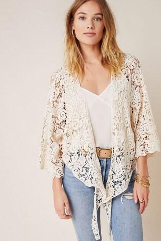 ANTHROPOLOGIE Riley Lace Kimono ~ ivory semi sheer tie front kimonos - flipped