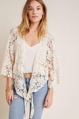 ANTHROPOLOGIE Riley Lace Kimono ~ ivory semi sheer tie front kimonos