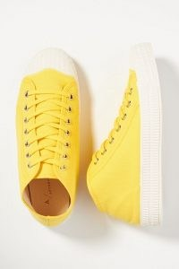 ANTHROPOLOGIE Canvas Tennis Trainers Yellow ~ bright lace up sneakers