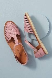 Leon and Harper Woven Leather Flat Sandals Pink