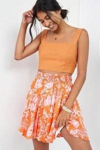 Maeve Ruffled A-Line Mini Skirt Orange Motif | floral flared hem summer skirts