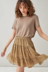 Selected Femme Firenze Skirt Sand | leopard print frill hem mini skirts
