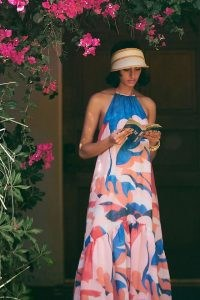 Maeve Abstract Halter Maxi Dress | bold print halterneck dresses