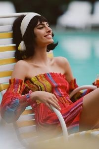 Conditions Apply Ruffled Off-The-Shoulder Mini Dress Red Motif | bright bardot style summer dresses