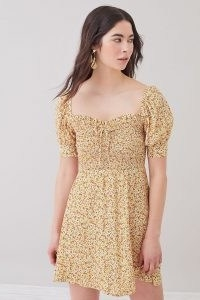Faithfull the Brand Dulcia Puff-Sleeve Mini Dress / floral sweetheart neckline dresses