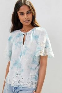 ANTHROPOLOGIE Olivia Embroidered Tie-Dye Blouse / scalloped wide sleeve blouses