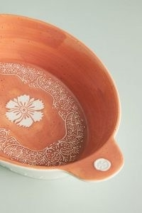 ANTHROPOLOGIE Gertrude Baking Dish ~ dishwasher and microwave safe rustic style oven dishes ~ traditional style kitchenware