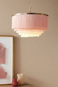 ANTHROPOLOGIE Oahu Fringe Pendant Light ~ pink ceiling pendants ~ stylish home lighting