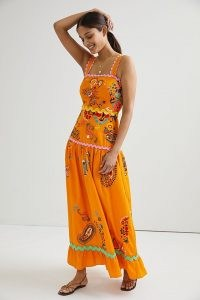 Maeve Sunset Embroidered Midi Dress Orange