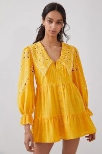 Rahi Marigold Eyelet Mini Dress in Mango / bright floral summer dresses / oversized collar