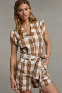 WHIT TWO Gingham Playsuit / brown check print playsuits