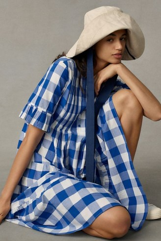 WHIT TWO Gingham Tiered Midi Dress / blue cotton check print dresses - flipped