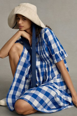 WHIT TWO Gingham Tiered Midi Dress / blue cotton check print dresses