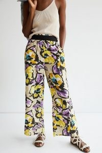 Maeve Pull-On Wide-Leg Trousers Purple Motif / bold floral print pants