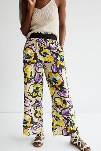 Maeve Pull-On Wide-Leg Trousers Purple Motif / bold floral print pants
