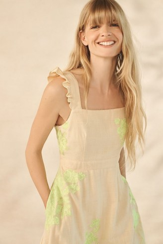 ANTHROPOLOGIE Stella Floral Embroidered Midi Dress / sleeveless fit and flare summer dresses - flipped
