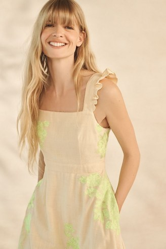 ANTHROPOLOGIE Stella Floral Embroidered Midi Dress / sleeveless fit and flare summer dresses