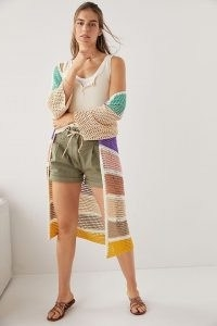 Anthropologie Eliza Colour-Block Crochet Cardigan | longline multicoloured open front gardigans