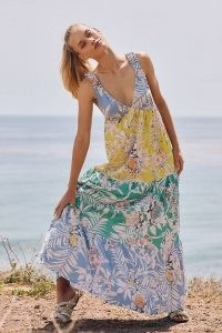 Maeve Tropical Cover-Up Maxi Dress – long tiered summer dresses