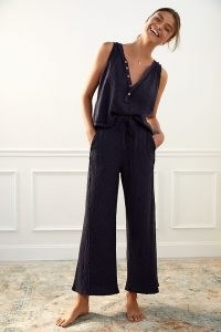 Daily Practice by Anthropologie Frayed Lounge Set / navy blue loungewear sets