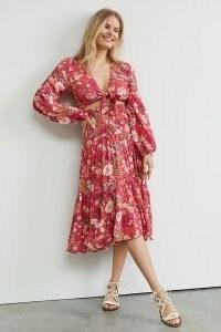 Anthropologie Francine Floral Smocked Co-Ord | summer skirt and crop tie-front top fashion set