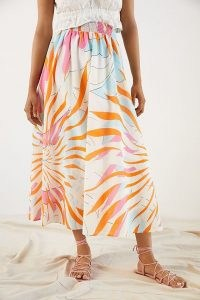 Maeve Floral Burst Maxi Skirt Orange Motif | bold print summer skirts