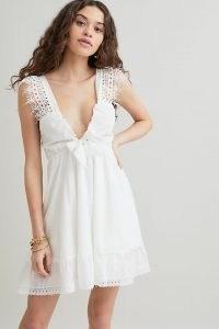 Peixoto Farrah Ruffled Mini Dress | feminine plunge front summer dresses