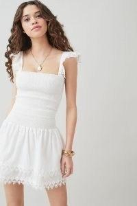 Peixoto Mariel Skirt | white tiered hem summer mini skirts