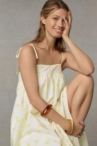 WHIT TWO Polka Dot Maxi Dress Yellow motif / spot print cami strap sundress