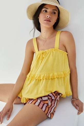 Anthropologie Ingrid Tiered Eyelet Tank Yellow | cotton summer camisole top - flipped