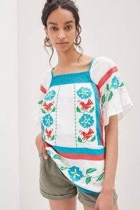 Seen Worn Kept Embroidered Tunic Blouse   floral square neck cotton summer blouse