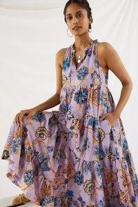 Anthropologie Diaz Tiered Abstract Maxi Dress   billowy sleeveless summer dresses