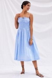 Sunday in Brooklyn Smocked Midi Dress   light blue skinny strap gathered bodice sundress