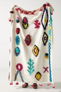 Anthropologie Textured Farida Throw Blanket ~ tasseled throws ~ handcrafted cotton tufted blankets